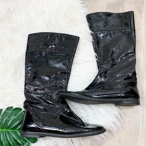 Gianni Bini Black Patent Leather Mid Calf Boots